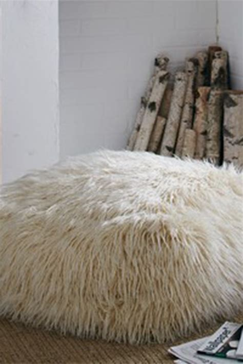 white faux fur ottoman mg decor square shaggy faux fur white ottoman