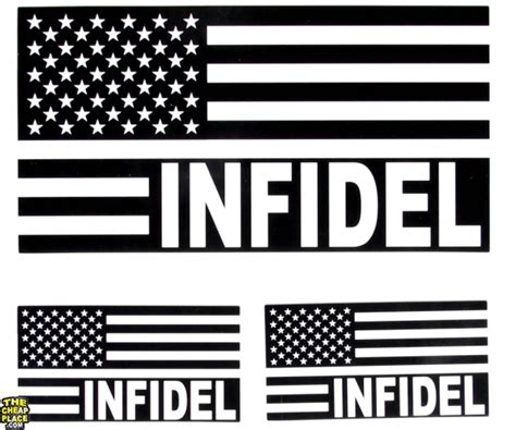 infidel usa infidel american flag black and white us flag sticker us