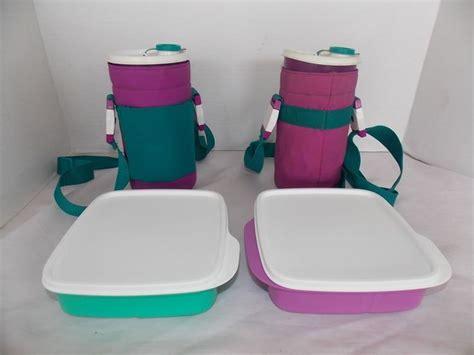 Tupperware Stripes Pouch Tas Tupperware tupperware thirst quake tumblers insulated holder purple aqua green lunch vintage