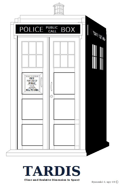 Tardis Outline Or Coloring Page Shaded Ver By Ryuuzaki L Tardis Coloring Page