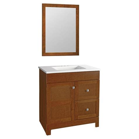 glacier bay 30 5 in w x 19 in d vanity in chestnut with