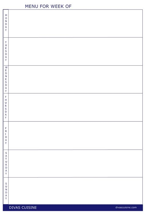 blank dinner menu template 8 best images of free printable weekly dinner menu and