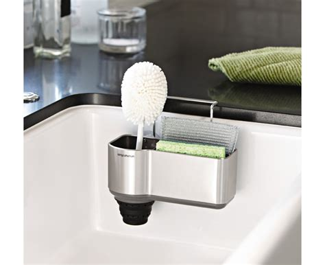 kitchen sink organizer simplehuman brushed steel sink caddy
