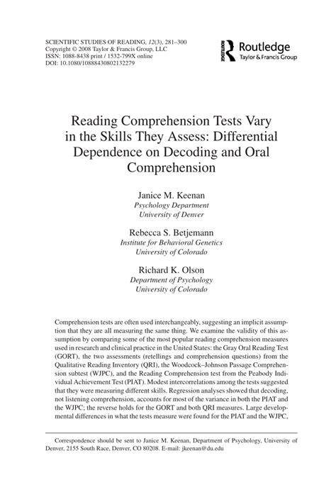 reading comprehension tests vary in the skills they assess reading comprehension tests vary in the pdf download
