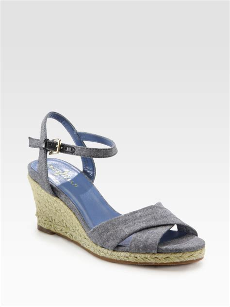 denim wedge sandals cole haan air camila denim espadrille wedge sandals in