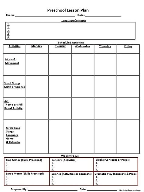 printable lesson plans for two year olds blank preschool weekly lesson plan template my