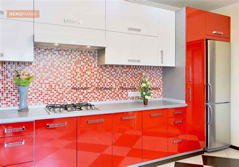 Red Tiles For Kitchen Backsplash Dual Tone Kitchen Cabinets An Added Flavour Renomania