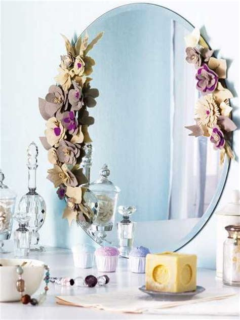 mirror decorations felt flowers for decorating wall mirrors with romantic details