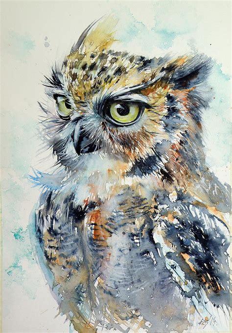 Elephant Print Duvet Cover Owl Painting By Kovacs Anna Brigitta