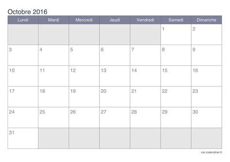 Calendrier Octobre 2017 Word Calendrier Octobre 2016 224 Imprimer Icalendrier