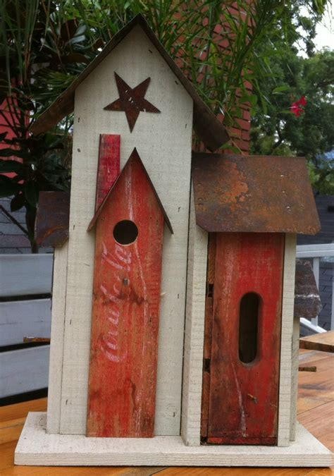 Handmade Bird Houses - handmade unique reclaimed coka cola birdhouse