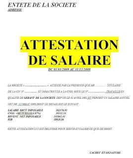 Modele Attestation De Salaire