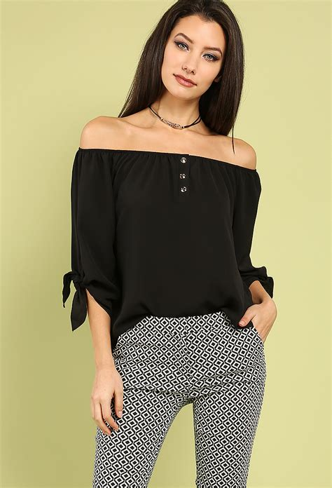 Button Front Blouse button front the shoulder blouse shop office at