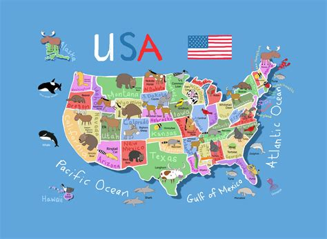 detailed cartoon map   usa usa maps   usa