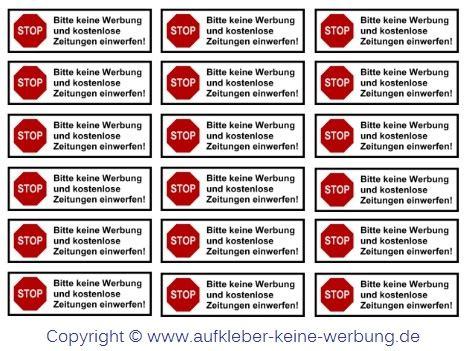 Keine Werbung Aufkleber Kostenlos Drucken by Urteil Zu Bitte Keine Werbung Aufkleber Aufkleber