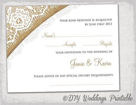 response card for wedding template rustic wedding rsvp template by diyweddingsprintable