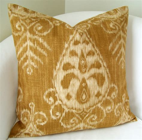 fancy couch pillows decorative throw pillow cover gold ikat pillow 20x20 inch