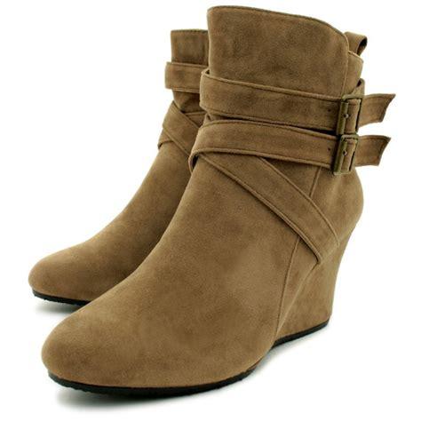 Wedge Heel Ankle Boots womens brown suede sheepskin fur style wedge heel buckle