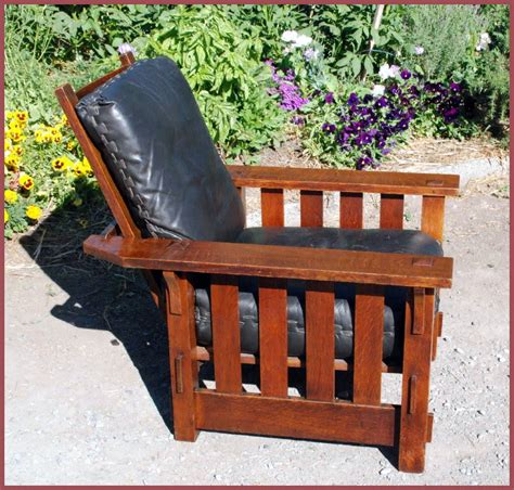 antique recliner chair voorhees craftsman mission oak furniture vintage j m