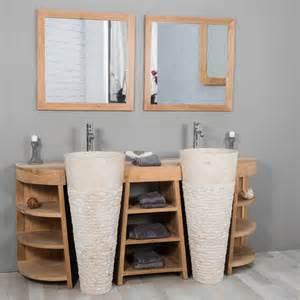 meuble sous vasque vasque en bois teck massif