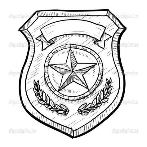 Detective Badge Coloring Pages Badge Coloring Page