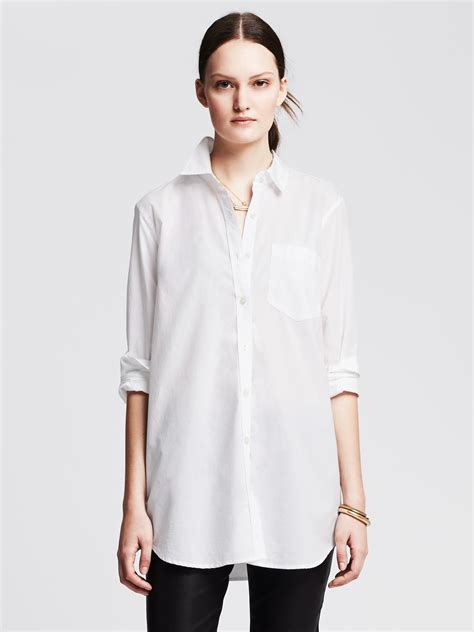 Boyfriend Shirts Banana Republic Boyfriend Shirt In White Lyst