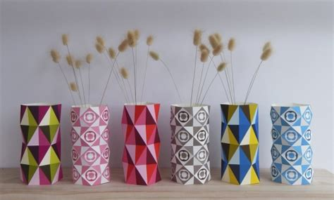 Home Decor Paper Crafts - geo vases diy paper craft by giggenbach project