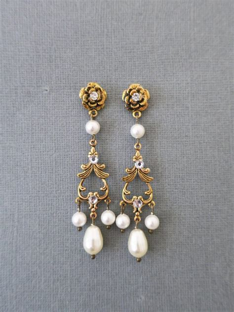 Bridal Chandelier Earrings With Pearls Gold Bridal Earrings Pearl Chandelier Earrings Wedding Jewelry For International Dot