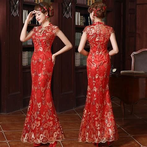 Dress Of The Day Golden Lace Qi Pao by Section Wedding Toast Flower Embroidery