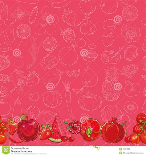 Kitchen Backdrop set of red fruits and vegetables on light red background