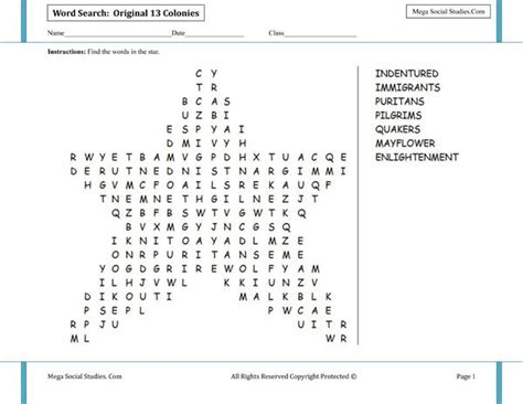 Ss Records Search Original 13 Colonies Shaped Word Search