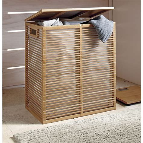 zen bamboo laundry bamboo her with liner crate and barrel bathroom