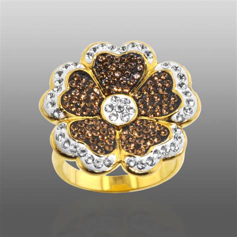 Best Product Promo Cuci Gudang Flower Swarovski Iring 1 shades of elegance gold bronze brown white flower ring jewelry rings