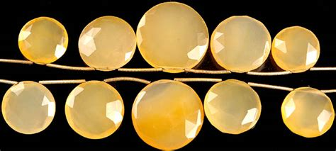 Yellow Chalcedony Top Mantap faceted yellow chalcedony top drilled large coins