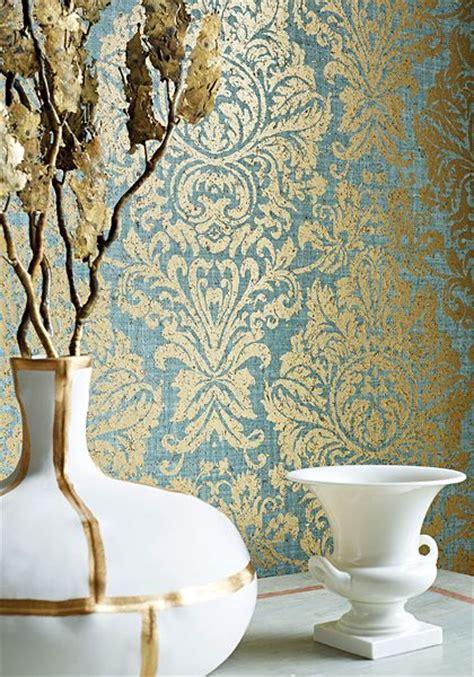 kingsbury wallpaper gold thibaut kingsbury damask wallpaper in metallic gold on aqua