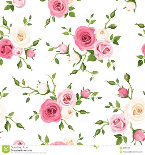 pink rose pattern clipart seamless pattern with pink and white roses vector