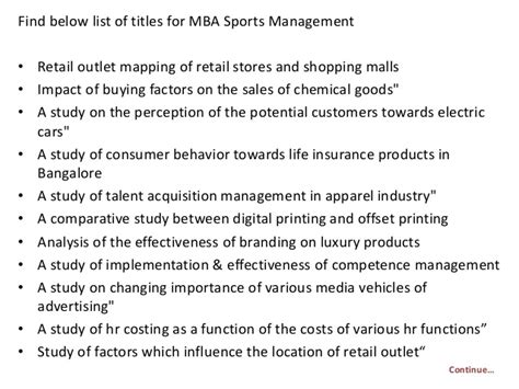After Mba In Sports Management by Project Report Titles For Mba In Sports Management