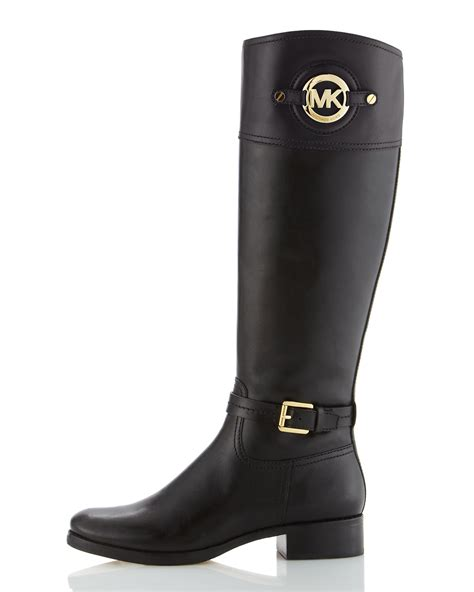 michael kors boots michael michael kors stockard leather boot in black