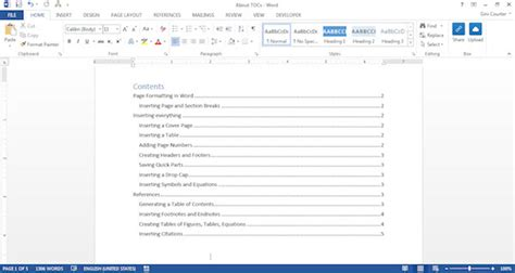 How To Add Table Of Contents In Word 2010 by The Easy Way To Create A Table Of Contents In Word