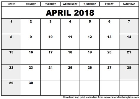 printable calendar template 2018 april 2018 calendar template calendar printable free