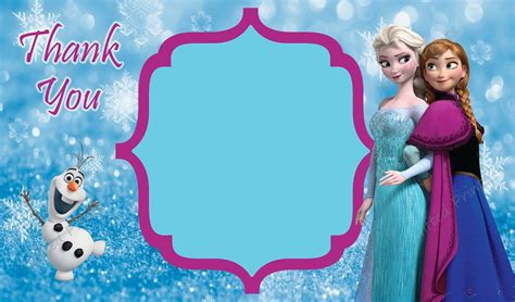 Frozen Thank You Card Template by Thank You Card Frozen Theme