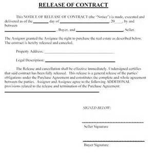 Contract Release Letter Contract Forms Free Printable Documents