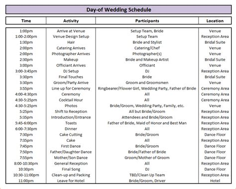 wedding schedule template 7 wedding schedule template procedure template sle