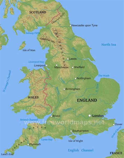 united kingdom map with mountains england physical map