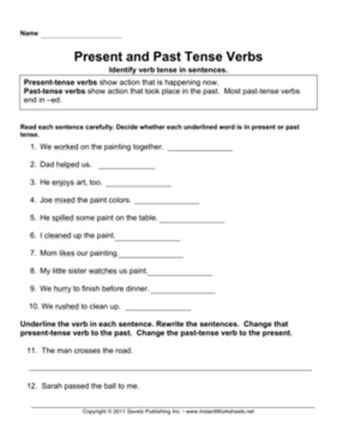 present tense to past tense worksheet present past tense verbs