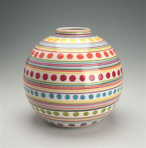 Ceramic Vases To Paint by Large Vase Stripes And Dots Painted By