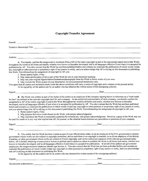 copyright agreement template copyright transfer agreement template free printable