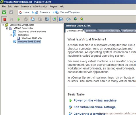windowslinux creating vmware virtual machine templates
