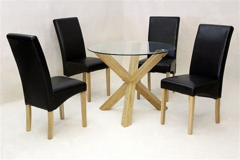 Glass Dining Table With Oak Base Glass Dining Table Oak Base And 4 Chairs Homegenies