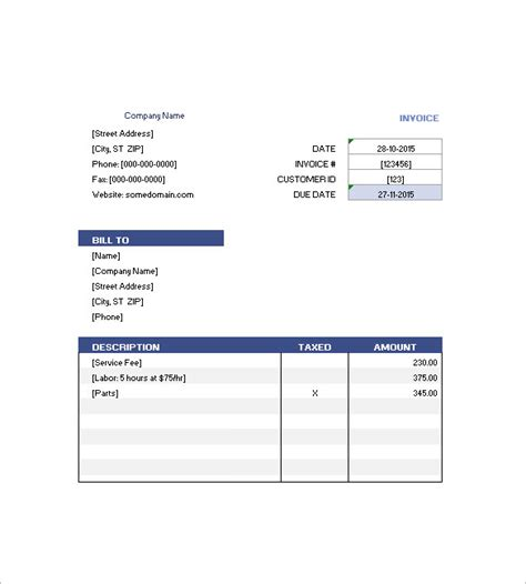 bed format hotel invoice templates 15 free word excel pdf format
